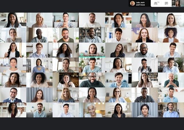 Google Meet 49 people grid view